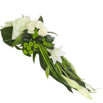 Modern funeral spray of white lilies